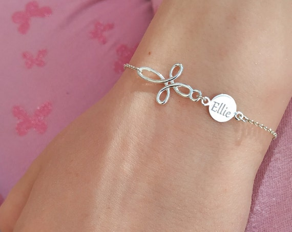 Baby /& Child Personalised Bracelet Name And Cross Personalised Bracelet 925 Silver Birthday Gift Communion Jewellery Christening Gift