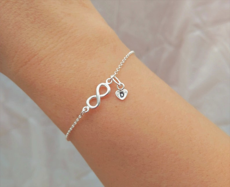 Gift for Mom and Daughter Gift for Sister Infinity and Heart 925 Silver Personalised Bracelet Bridesmaid Bracelet Gift for Girlfriend