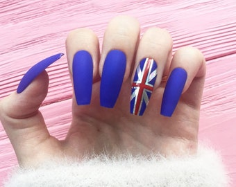 British Flag Nails Etsy