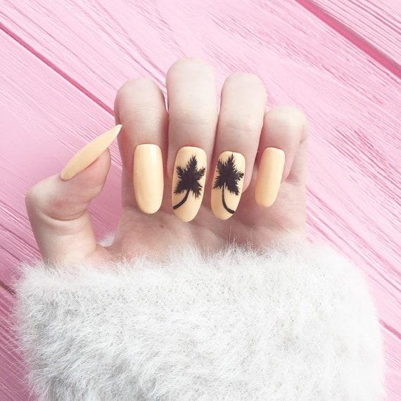 Peach Nails Palm Fake Nails Nail Design Nail Art False Etsy