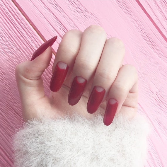 Classic Red Nails Fake Nails Nail Design Nail Art False Etsy