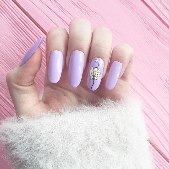Violet Nails Orchid Fake Nails Nail Design Nail Art False Etsy
