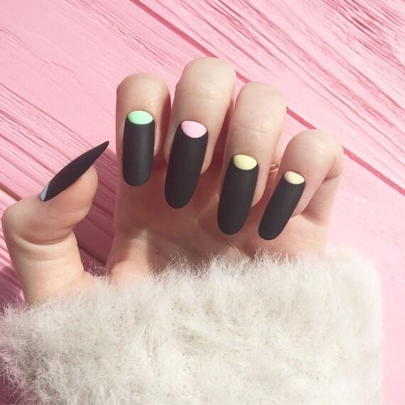 Schwarze Nagel Kunstliche Nagel Nageldesign Nail Art False Etsy