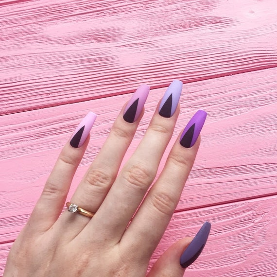 Rosa Violett Nagel Falsche Nagel Nageldesign Nagel Etsy