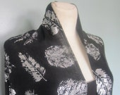 Cashmere Stole Shawl Wrap Scarf Pashmina - Screen-Printed - Silver Leaves on Charcoal