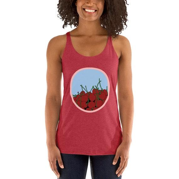 945f99243fab2 Cherries in a Bowl Women's Racerback Tank / Vintage Design / Fruity Shirt /  Workout Top
