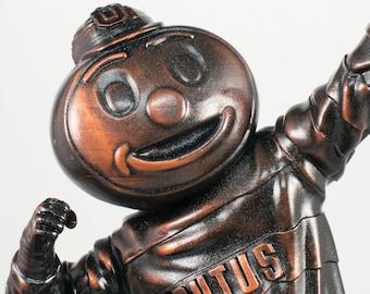 "Collectible 10"" Brutus the Buckeye lightning Ohio State University Figurine in bronze finish"
