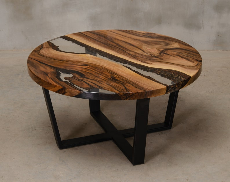 Custom round epoxy table made of walnut, UV resin table with steel legs,  live edge table, river table, live edge coffee table to office