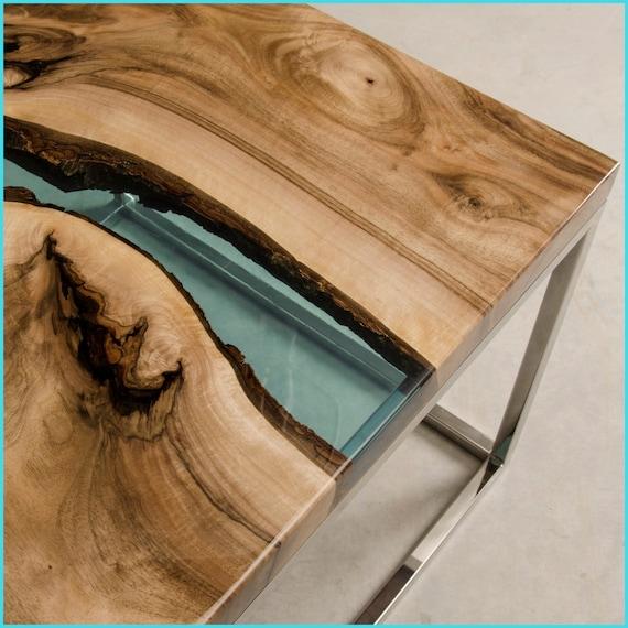 table de r sine poxy en resine bleu et bois de noyer. Black Bedroom Furniture Sets. Home Design Ideas