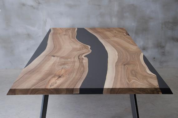 LIVE EDGE Esstisch, Epoxidharz Tisch, Epoxid Nussbaum Tisch