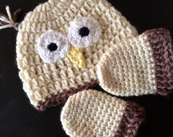 Owl Hat and Mitten Set