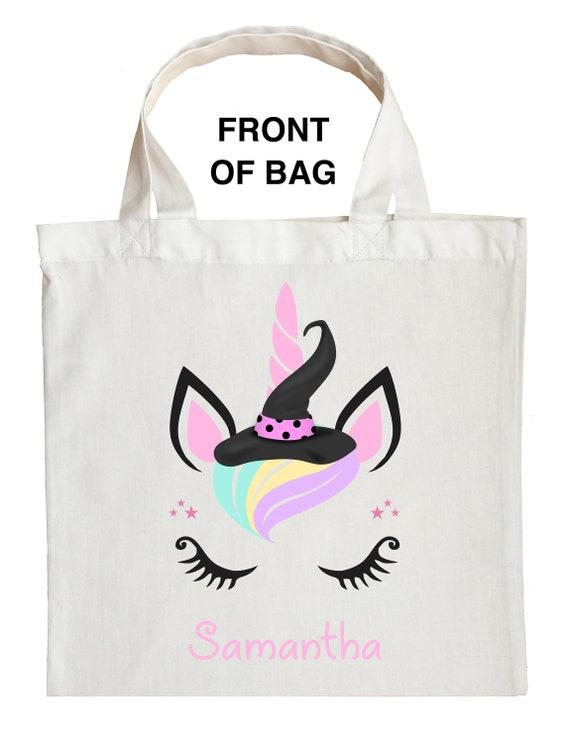 Personalized, Unicorn Witch Halloween bag trick or treat add custom name