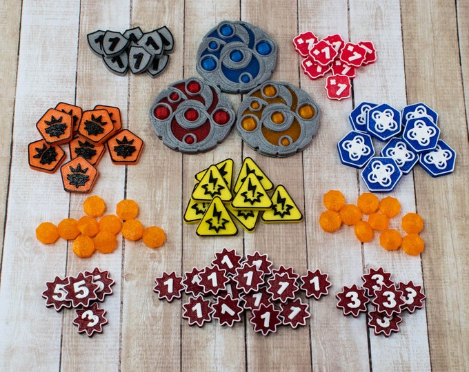 Featured listing image: Keyforge Token Set - Upgraded Plastic Tokens for Keyforge Worlds Collide