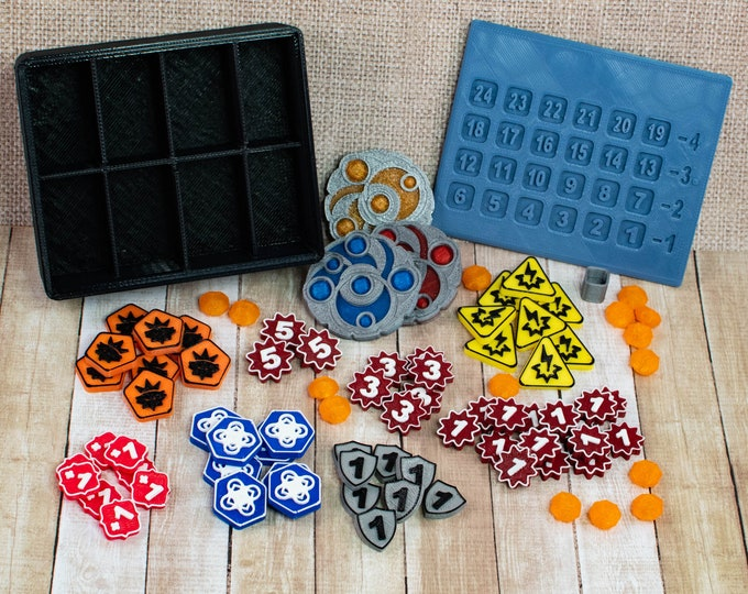 Featured listing image: Keyforge Token Set with Box - Replacement for Keyforge Worlds Collide Deluxe Starter Set