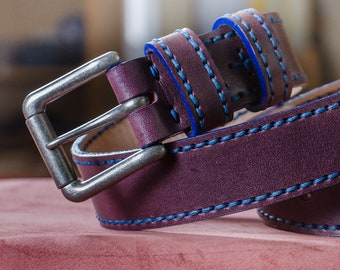 Hand dyed leather belt