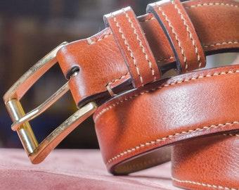 Handcut and handstitched Vachetta Leather Belt.