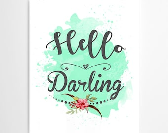 Hello Darling Green Art Canvas Inspirational Quote Canvas Etsy