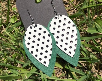 Brooke Polka Dot Leather Earrings - Green