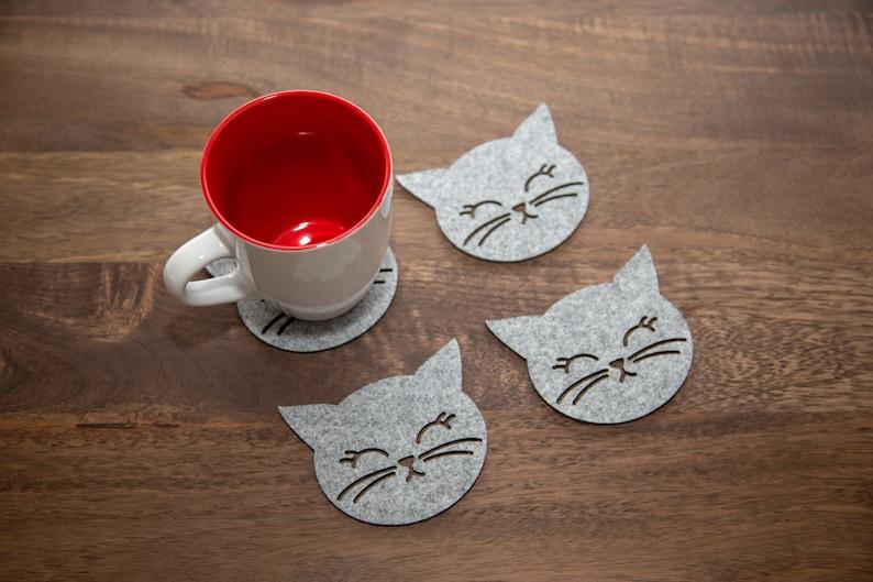 Modern Cat Coasters  Felt image 0