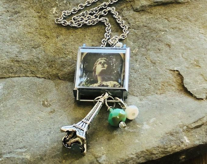 Vintage Watch Case Necklace | Angel | Eiffel Tour | Paris | Watch Parts | Pearl | Charms | Original Photography | Handmade
