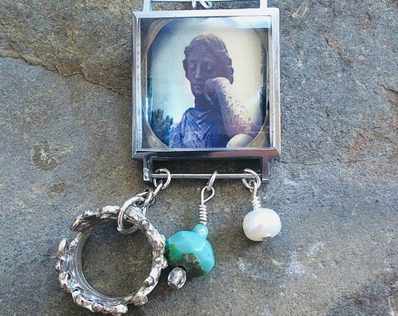 Vintage Watch Case Necklace | Angel | Crown | Watch Parts | Pearl | Charms | Original Photography | Handmade