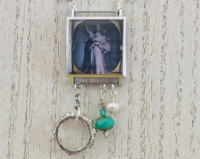 Vintage Watch Case Necklace | Angel | Crown | Watch Parts | Pearl | Czech Glass | Charms | Original Photography | Handmade