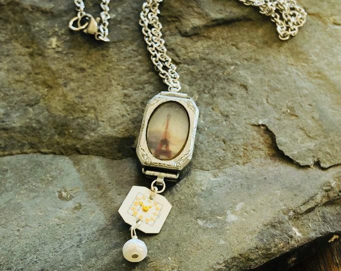 Vintage Watch Case Necklace | Eiffel Tour | Paris | Watch Parts | Pearl | Original Photography | Handmade