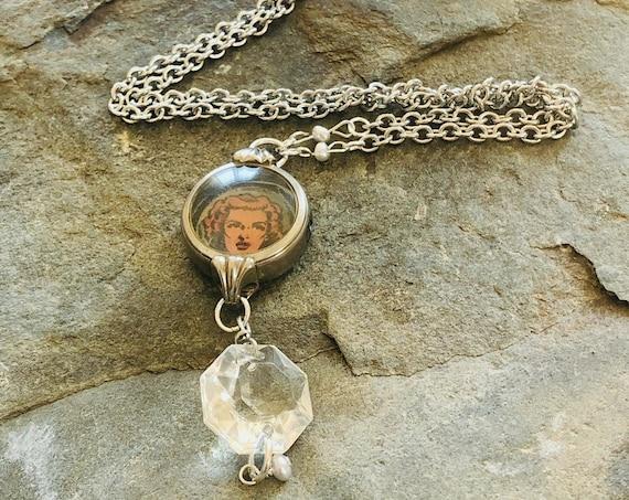 Vintage Watch Case Necklace | Pop Art | Woman | Watch Parts | Pearl | Chandelier Crystal | Handmade