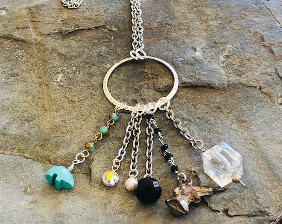 Trinket Charm Pendant Necklace | Stainless Steel Chain | Cracker Jack Gun Charm | Turquoise Bear | Glass Beads