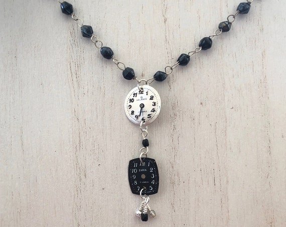 Vintage Watch Face Pendant Necklace with Vintage Iridescent Black Glass Bead Rosary Chain