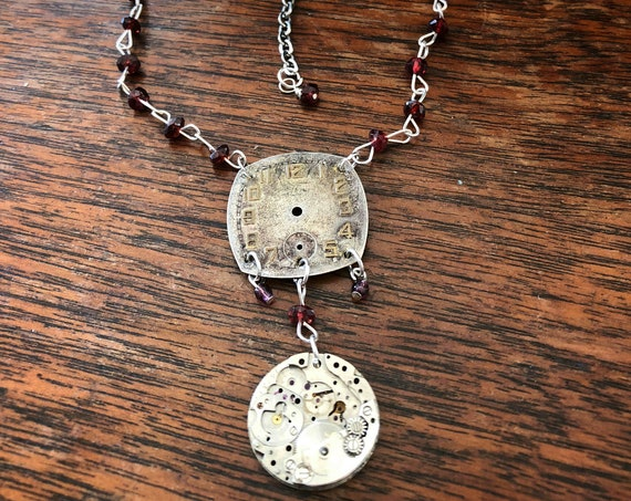 Vintage Watch Face Pendant Necklace w/ Sterling and Garnet Chain