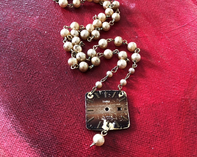 Vintage Zaria Watch Face Necklace with Faux Pearl Chain - Mid-century