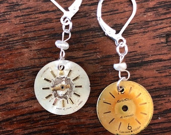 Vintage Watch Face Earrings with Pearls - Sterling Silver