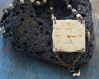 Vintage Laco Watch Face and Movement Pendant Necklace with Upcycled Pearl and Brass Rosary Bead Chain and Faux-Pearl Flower