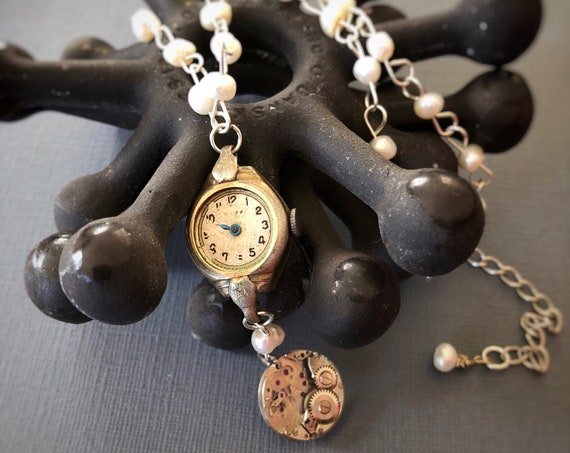 Vintage 10k Rolled Gold Art Nouveau Watch Case Pendant Necklace with Freshwater Pearl and Sterling Silver Chain