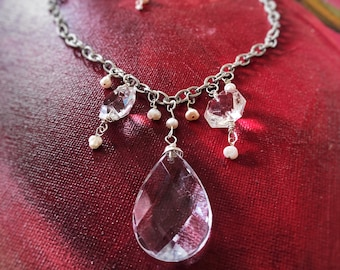 Vintage Crystal Chandelier Pendant Necklace  - on Silver-toned chain with Freshwater Pearls