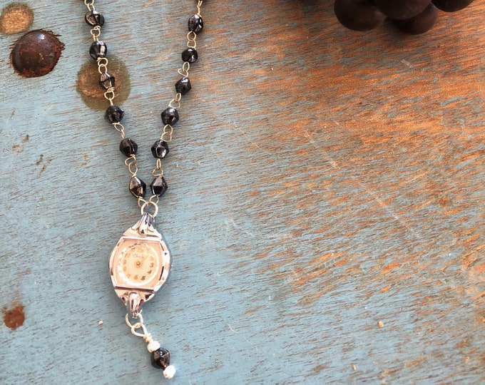 Vintage Chalet Watch Necklace with Black Glass Rosary Bead Chain