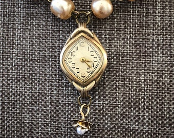Vintage 10k Gold Art Nouveau Ladies' Watch Pendant Necklace with Pearlized Glass Bead Chain