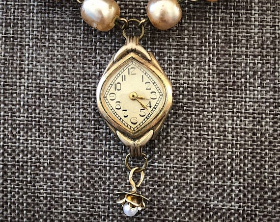 Vintage 10k rolled Gold Art Nouveau Ladies' Watch Pendant Necklace with Pearlized Glass Bead Chain