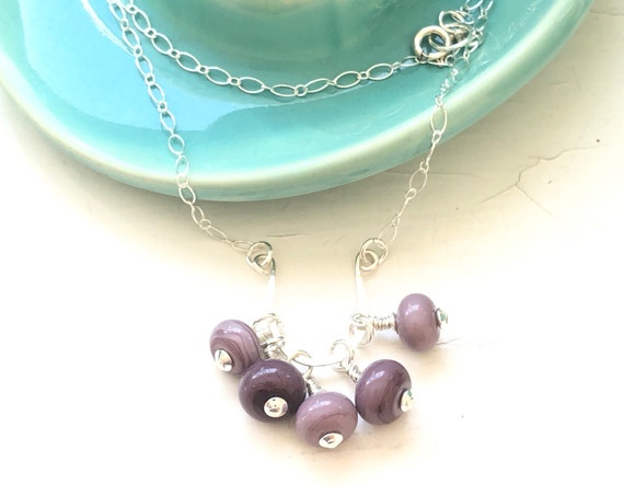 Purple/Mauve Handmade Glass Bead and Sterling Silver Pendant Necklace