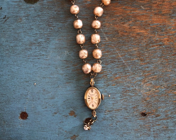 Vintage Gold-toned Buren Watch Necklace with Pearl Flower and Pearlized Glass Bead Chain