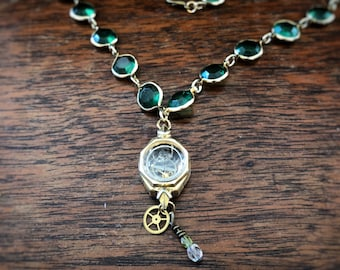 Vintage Watch Parts Necklace on Upcycled Gold and Faceted Green Glass Bead Chain