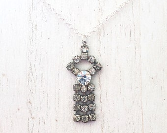 Vintage Art-Deco Style Rhinestone Pendant Necklace on Sterling Silver Chain