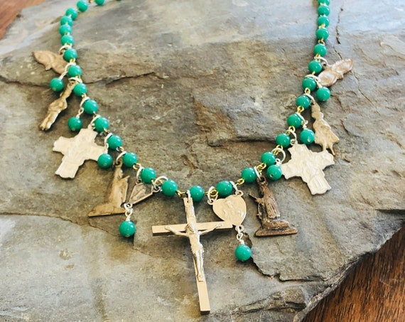 Vintage Milagro Folk Charm and Cross Necklace | Green | Rosary Bead Chain