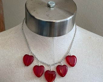 Heart of Glass Charm Necklace - Red - Stainless Steel Chain - Valentine's Day