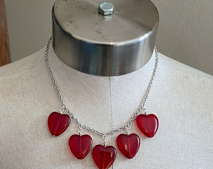Featured listing image: Heart of Glass Charm Necklace - Red - Stainless Steel Chain - Valentine's Day