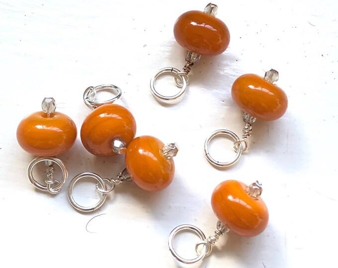 Handmade Glass Bead Stitch Markers | Orange | Set of 6 | Knitting | Silver plated