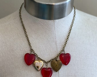 Heart of Glass Charm and Locket Necklace - Red - Brass - Valentine's Day