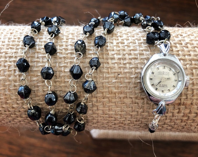 Vintage Tourist Ladies' Watch Case Pendant Necklace with Glass Rosary Bead Chain