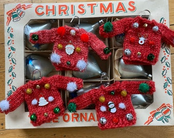Ugly Sweater Christmas Tree Ornaments | Hand Knitted | Handmade | Holiday | Santa | Snowman | Reindeer | Tree | Gingerbread Man | Lt. Red